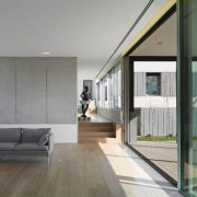 Open plan living room with slimline sliding doors