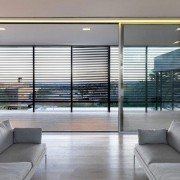 Open plan room with sliding doors